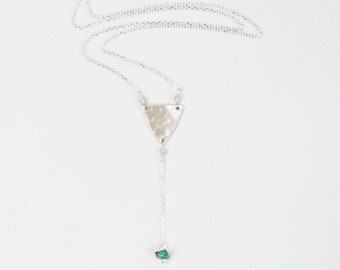 Emerald Necklace / May / Y Necklace / Personalized / Upside Down Triangle Necklace / Birthday Gift / Birthstone / Graduation Gift