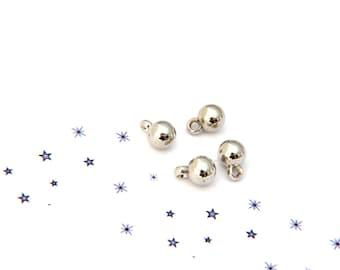 set of 4 silver coloured metal ball charm