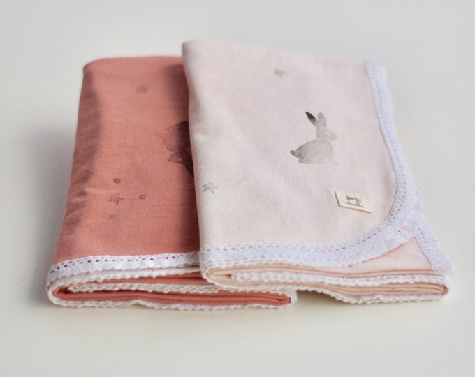 Printed Naturally Dyed Organic Cotton Jersey Receiving Blanket with Lace Trim