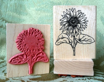 Sunflower rubber stamp from oldislandstamps