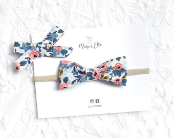 Girls Bow Headband - Rosa Floral Periwinkle | Rifle Paper Co | Cotton | Nylon | Baby Girl | Hair Accessory | Toddler | Kids | Hair Bow