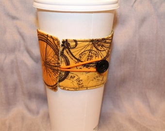 Vintage Bicycle Reversable Coffee Cozy