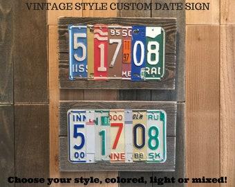 5th 10th 15th 20th Custom Year Wedding Anniversary Gift for Man Husband Wife Boyfriend VINTAGE License Plate Sign Last Minute