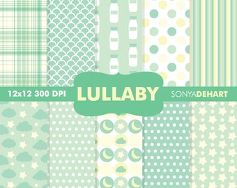 80% OFF SALE Digital Paper Baby Shower Lullaby Green Background Patterns