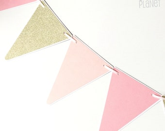 Pink and Gold Party Bunting, Triangle pennant banner. Baby shower, birthday party, photo prop, baby girl, first birthday, ballet, ballerina.