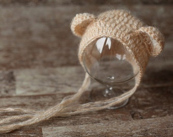 Mohair Baby Bear Newborn Hat,Baby knitted hat, Baby Boy Baby girl Hat, Knit baby hat, Photo prop, Photography Hat