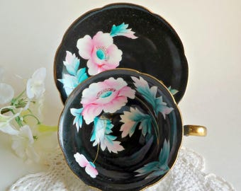 Tea Cup and Saucer Teacup and Saucer Vintage Occupied Japan Rose 1940's