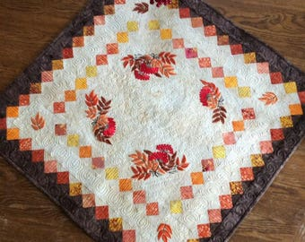 Autumn Table Topper with Mountain Ash Embroidery