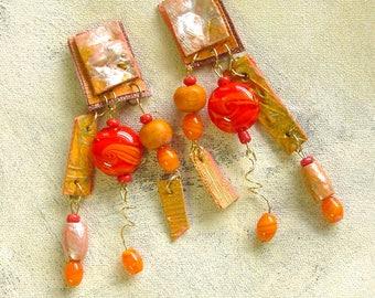 Riotous orange dangles upcycled artist palette