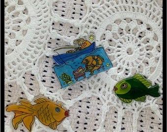 Hand Painted Fishing Pin Set
