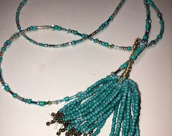 Turquoise Seed Tassel Necklace