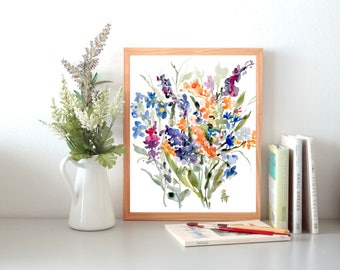 From the Garden No.15, Watercolor Flowers Fine Art Print, Wall Decor, Floral Watercolor, 8x10, 11x14