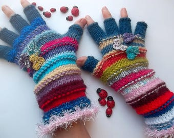 Women Size M 20% OFF Ready To Ship Half Fingers Wool Accessories Mittens Wrist Warmers Gloves Winter Hand Knitted Multicolor Striped Arm 248