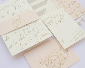 Wedding Invitation, Calligraphy Wedding Invitation, Gold, Blush, Elegant, Classic Wedding Invitation - Emily Deposit