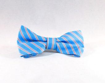 Preppy Aqua and Coral Seaside Dog Bow Tie
