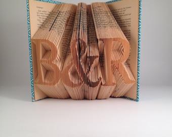 Custom initials folded book - Serif Font