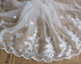 White Floral Lace Trim Glossy Embroidery Tulle Lace Trim 6.29 Inch Wide 2 Yards L081