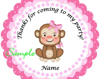 Pink Monkey Personalized Stickers - Favor Labels, Party Favor Stickers, Birthday Stickers, Baby Shower