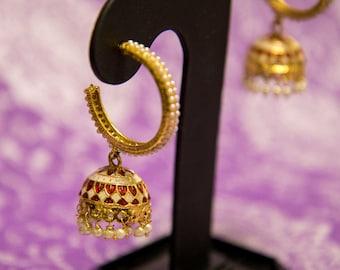Gold and Pearl Hoop Jhumki Earrings | Dangle Earrings | Indian Jewelry | Bollywood Jewelry