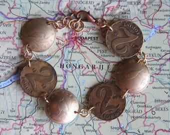 Hungary bird coin bracelet - curved - made of original coins - bird jewelry