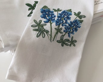 Bluebonnet Kitchen Towel - Three Blooms - Texas Edition - Cotton/Linen Blend Towel