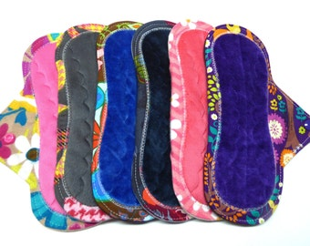 """9"""" Minky or OBV Mama Cloth Pads / Reusable Menstrual Pads / Incontinence Pads - Set of 6 - Custom Flow Level, Back, and Fabrics"""