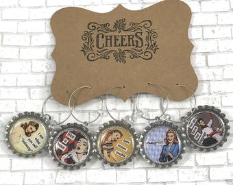 Retro Women 1950's Ladies Funny Quotes Wine or Beer Charms Bottle Cap Drink Charms Girls Night Out Happy Hour Glass Charms