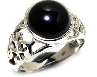 Natural Black Onyx Round Gemstone Ring 925 Sterling Silver R1249