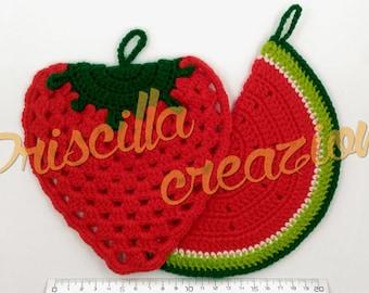 Pair of artisanal pot holders made of crochet watermelon Strawberry