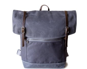 Backpack No.3 in Gunmetal waxed canvas