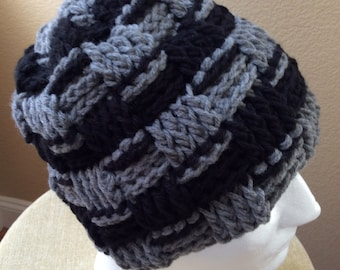Beanie ,men /woman hat , warm hat ,winter hat ,Black and gray