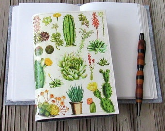 vintage cacti journal, diary notebook planner, cactus succulent gratitude journal - gift giving for under 30