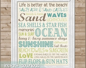 Beach Subway Art Sign, Ocean & Sand - Printable Instant Download