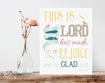 Bible Verse, Scripture Printable, This is the day the Lord has made verse,  Psalm 118:24, vintage, Printable 8x10 File, INSTANT DOWNLOAD
