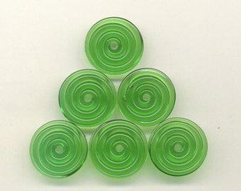 16, 17, 18mm range, Tom's lampwork transparent dark emerald green disc beads, 2 beads, 1 pair 95610-1B