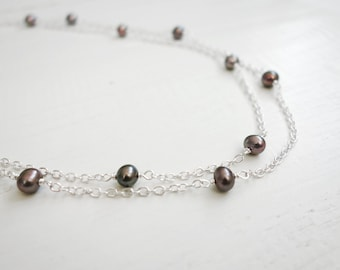 Gray pearl necklace double chain necklace freshwater pearls necklace minimalist necklace for women