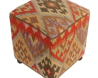 "Daina brown/rust kilim upholstered handmade ottoman(20""x15""x15"")"