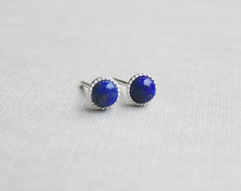 Tiny small blue lapis lazuli 4mm round gemstone studs sterling silver earrings