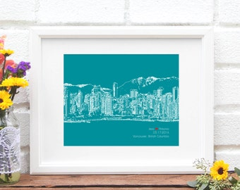Vancouver Skyline Print, Personalized Vancouver, British Columbia Canada Engagement Gift, Wedding Gift for Couple, First Anniversary