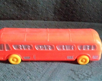 "Vintage Blow mold Bus Greyhound Plastic Greyhound Bus 9.5"" Long"