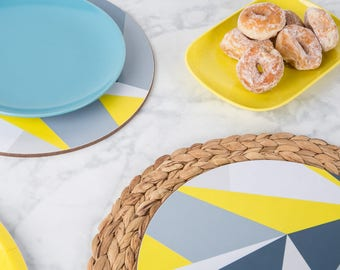Yellow Angles Round Placemat Set