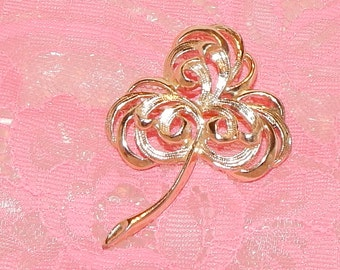 1970s 3 Leaf Clover shaped with swirls Brooch Sarah Coventry Celtic Collection, Signed
