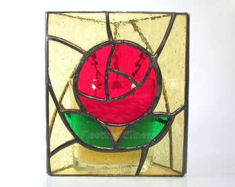 Candle Holder Red Rose Stained Glass Mothers Day Gift
