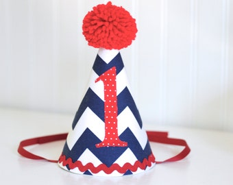 Navy and Red Chevron fabric party hat 1st birthday hat cake smash photo prop