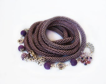 Long beaded lariat necklace Beauty gift Lilac necklace Beaded jewelry Bead crochet rope Long Statement Boho Long wrap necklace Unique gift