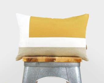 Color Block Decorative Pillow Case in Mustard Yellow, White and Natural | 12x18 Geometric Cushion Cover | Modern and Minimalist Home Decor