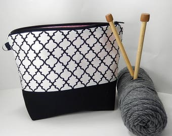 Black and white Knitting bag, Crochet project bag, small work in progress knitters gift, gift for knitter, crochet gift, black white bag