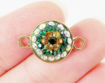 Green Evil Eye Swarovski Crystal Connector - Gold Plated - 1PC