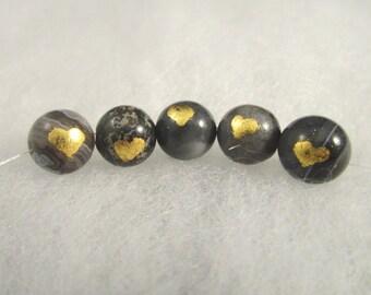 Sardonyx beads with gold leaf hearts