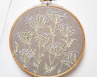Cow Parsley Wildflower Meadow Embroidery Art